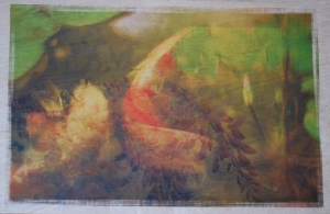 Koi wisteria collage on wood veneer treated with Digital Ground