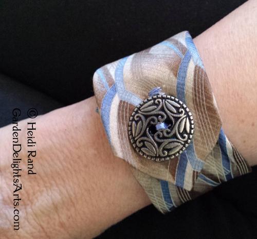 Upcycled necktie bracelet